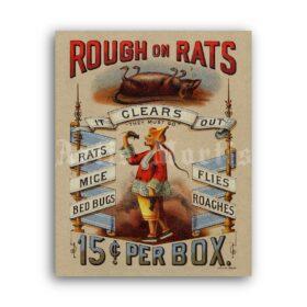 Printable Rough On Rats - vintage 1800s poison advertisement poster - vintage print poster