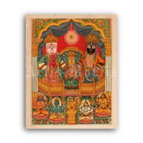 Printable Shri Jagannatha, Krishna cult - Hindu art, Indian ethnic painting - vintage print poster