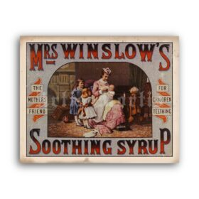 Printable Mrs Winslow's Soothing Syrup - vintage apothecary poster - vintage print poster