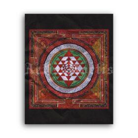 Printable Sri Yantra - Hindu spiritual art, chakra, mandala, meditation - vintage print poster