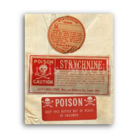 Printable Strychnine Poison - vintage apothecary label poster - vintage print poster