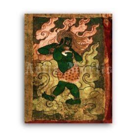 Printable Tibetan Green Demon - Buddhism demonology, Eastern art - vintage print poster