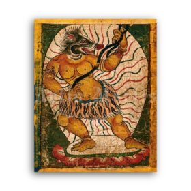 Printable Tibetan Yellow Demon - Buddhist demonology, Eastern art - vintage print poster