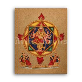 Printable Mandala of God Vishnu - Hindu art, Vaishnavism, Vishnuism - vintage print poster