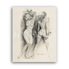Printable Beauties in bondage – vintage BDSM art by Erich Von Gotha - vintage print poster