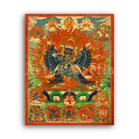 Printable Yamantaka Destroyer of Death - Tibetan Buddhism deity art print - vintage print poster