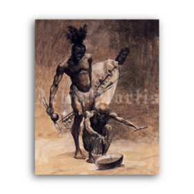 Printable The prophecy of Masuka - African shaman watching the future - vintage print poster