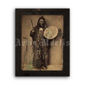 Printable Buryat shaman - Siberian medicine man vintage photo - vintage print poster
