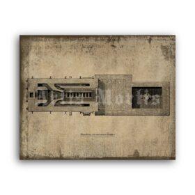 Printable Crematorium Furnace illustration, layout, blueprint poster - vintage print poster