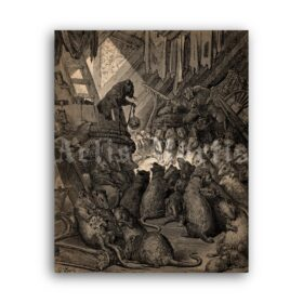 Printable The Council Of The Rats fairytale illustration, Gustave Dore art - vintage print poster