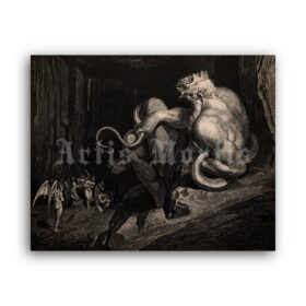 Printable King Minos - Hell illustration for Devine Comedy by Gustave Dore - vintage print poster