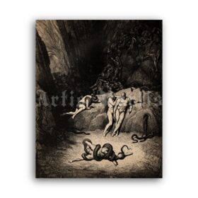 Printable Transformation into Snakes - Hell illustration by Gustave Dore - vintage print poster