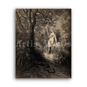 Printable Temptation of Eve - Paradise Lost illustration by Gustave Dore - vintage print poster