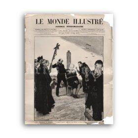 Printable Execution via Garrote - Le Monde Illustre magazine cover art - vintage print poster