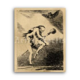 Printable Two Naked Witches by Francisco Goya, witchcraft art print - vintage print poster