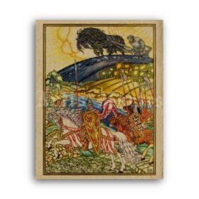 Printable Strongman Mikula, Russian folk tales hero - art by Ivan Bilibin - vintage print poster