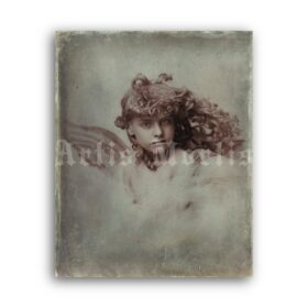 Printable Victorian little angel, curly girl, gothic child vintage photo - vintage print poster