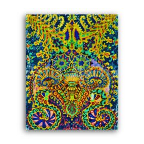 Printable Fractal Cat by Louis Wain - weird, odd, psychedelic art - vintage print poster