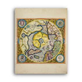 Printable Ancient Flat Earth - Mercator, antique Nord Pole map poster - vintage print poster