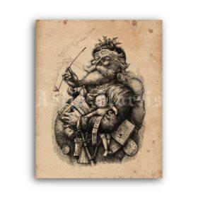 Printable Merry Old Santa Claus - Victorian Christmas art by Thomas Nast - vintage print poster