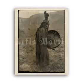 Printable Mongolian shaman with drum - medicine man vintage photo - vintage print poster