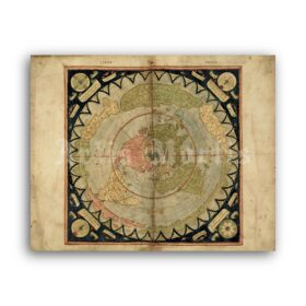 Printable Ancient Flat Earth - Monte Urbano medieval world map poster - vintage print poster
