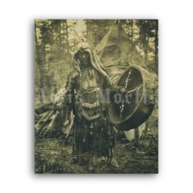 Printable Siberian shaman - shamanic ritual in the forest vintage photo - vintage print poster
