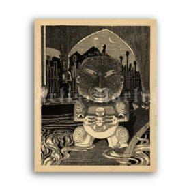 Printable Maui and Taranga - Maori myth illustration, folk, ethnic tale art - vintage print poster