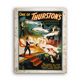 Printable Thurston's Mysteries - vintage illusionist, magician poster - vintage print poster