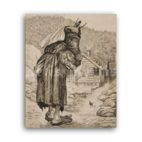 Printable Old Witch with Head folk tales illustration by Theodor Kittelsen - vintage print poster