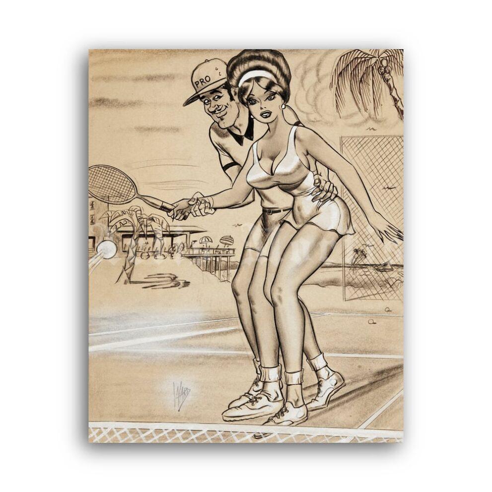 Printable Tennis Trainer - vintage humour pin-up cartoon art by Bill Ward - vintage print poster