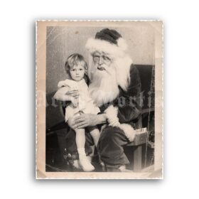 Printable Drunk evil Santa Claus with scared child - vintage photo print - vintage print poster