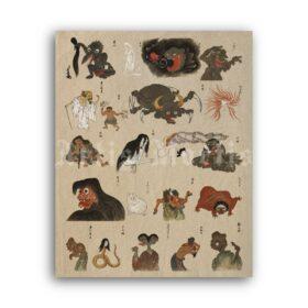 Printable Bakemono Zukushi scroll - Japanese yokai monsters art print - vintage print poster
