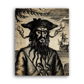 Printable Pirate Blackbeard portrait, Captain Edward Teach poster - vintage print poster