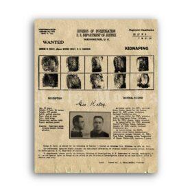 Printable Machine Gun Kelly - George Barnes wanted poster, fingerprints - vintage print poster