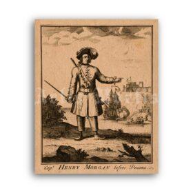 Printable Pirate Captain Henry Morgan - Caribbean Sea pirates art print - vintage print poster