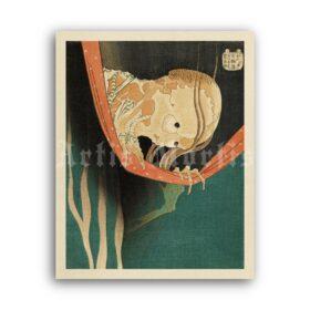 Printable The Ghost of Kohada Koheiji by Katsushika Hokusai print - vintage print poster