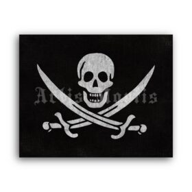 Printable Pirate flag poster, Jolly Roger by Captain Calico Jack Rackham - vintage print poster