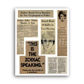 Printable Zodiac Killer newspapers clipping print - serial killer poster - vintage print poster