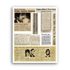 Printable Zodiac Killer newspapers clipping poster - serial killer art print - vintage print poster