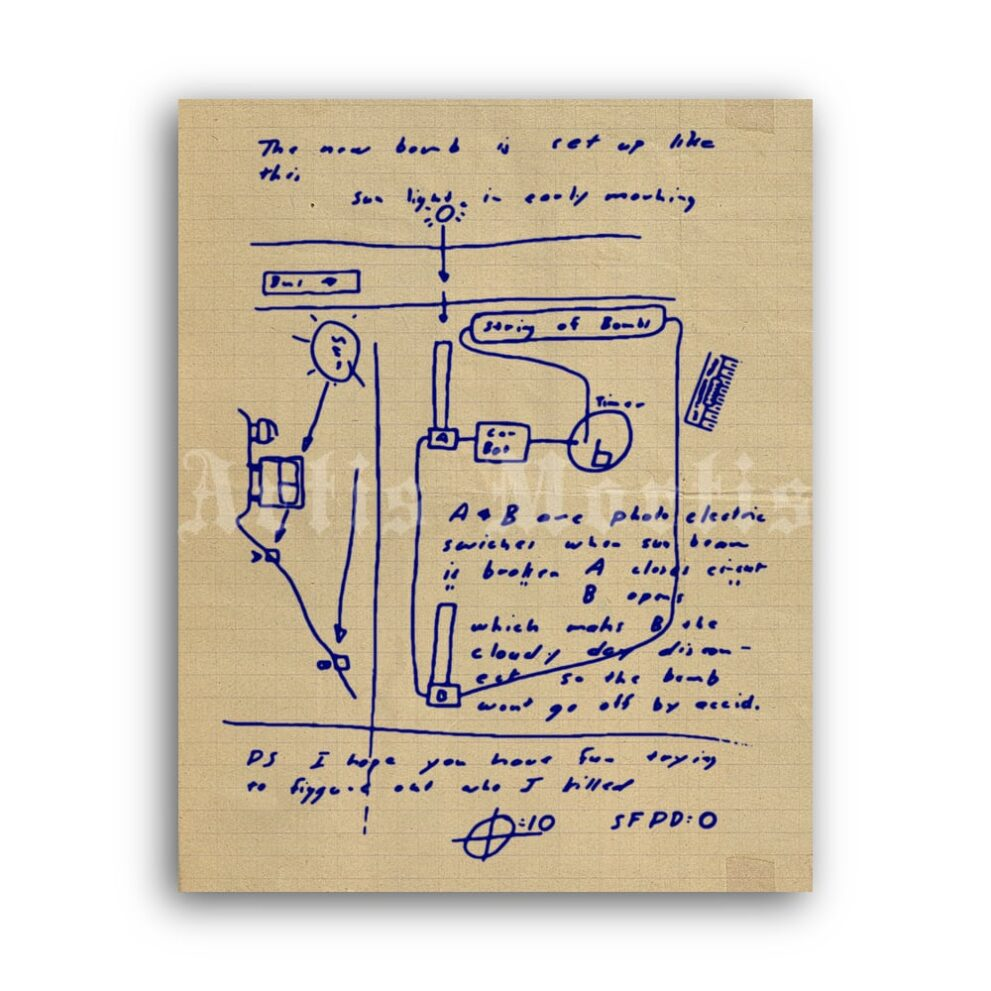 Printable Zodiac Killer letter with bus bomb diagram - serial killer poster - vintage print poster
