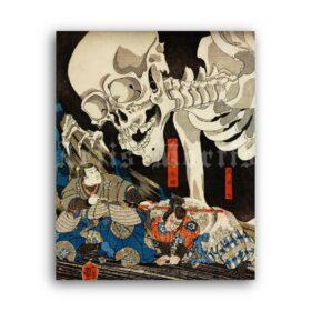 Printable Gashadokuro ghost-skeleton - print by Utagawa Kuniyoshi - vintage print poster