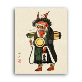 Printable Oni Demon, yokai - vintage Japanese painting, otsu-e print - vintage print poster