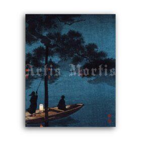 Printable Stars over Lake Biwa - Japanese landscape woodblock print - vintage print poster