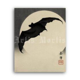 Printable Bat before the moon - vintage Japanese art woodblock print - vintage print poster