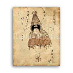 Printable Karakasa-obake, Umbrella-monster - Japanese demonology - vintage print poster