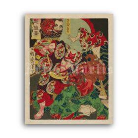 Printable Japanese warrior Asahina Yoshihide fighting with demons - vintage print poster