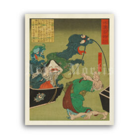 Printable The Greedy Old Woman - vintage Ukiyo-e woodblock print - vintage print poster