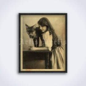 Printable Girl with fox - Victorian era photo, print, retro decor - vintage print poster