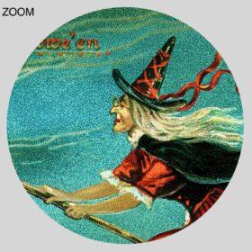 Printable Witch and her black cat flying on broom – vintage Halloween art - vintage print poster
